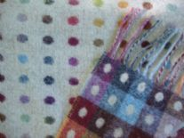 beige multi spot merino lambswool throw blanket detail02