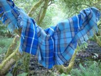 blue grey check pure wool throw blanket detail01