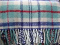 coastal check pure wool throw blanket detail01