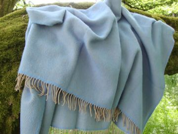 sea blue beige herringbone pure wool throw blanket detail01