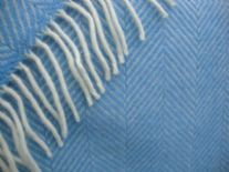 sea blue white fishbone pure wool throw blanket detail01