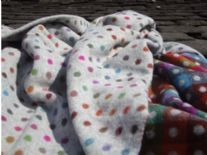 grey spot check merino wool blanket throw02
