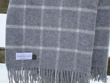 soft grey check pure wool blanket throw 01