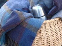 pateley blue check lambswool throw blanket 01