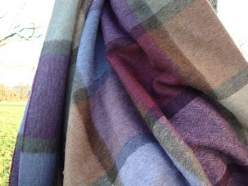 pateley damson check lambswool throw blanket 01