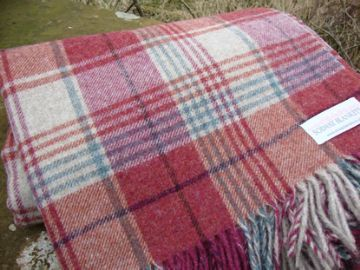 brick red huntingtower check shetland wool blanket throw 01