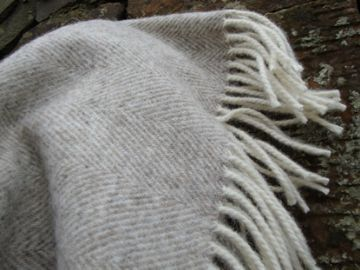natural herringbone beige blanket throw 01