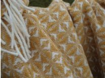 mustard yellow pure wool cobweave blanket throw 01