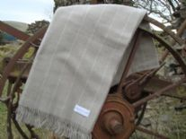 beige pinstripe lambswool throw blanket 01