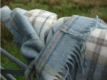 aqua blue aysgarth shetland wool blanket throw 01
