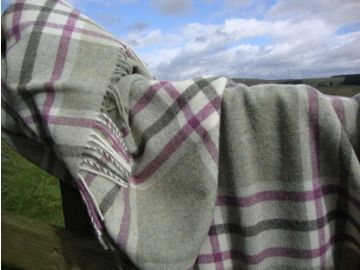 fern green pink arncliffe check shetland wool throw 01