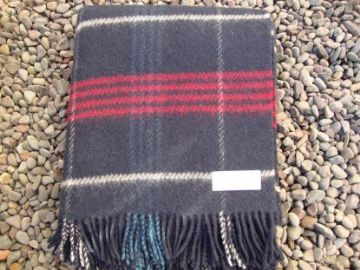 navy check pure wool blanket throw 01