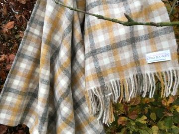 bibury gold grey check shetland blanket throw 01