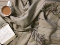 beige colour pinstripe merino throw blanket 01