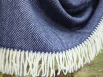 navy blue herringbone merino throw 05
